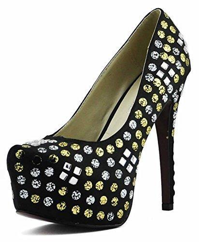Schuhe Kaufen Online Günstig Damen-Plattform-Absatz-Partei-Hochzeit Glitter Stiletto Spitzschuh Größe 3-8 Stil 1 - Schwarz