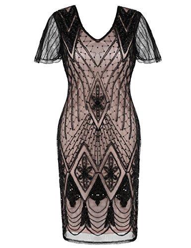 Kleid inspiriert Pailletten Perlen Cocktail Flapper Kleid L schwarz Beige (Plus Size Schwarz Flapper Kostüme)