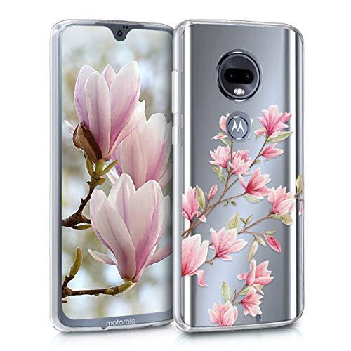 kwmobile Motorola Moto G7 / Moto G7 Plus Hülle - Handyhülle für Motorola Moto G7 / Moto G7 Plus - Handy Case in Rosa Weiß Transparent
