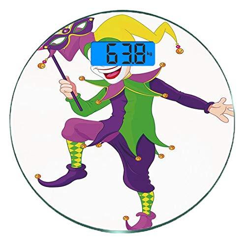 Glücklich Kostüm - Digitale Präzisionswaage für das Körpergewicht Runde Karneval Ultra dünne ausgeglichenes Glas-Badezimmerwaage-genaue Gewichts-Maße,Karikatur-Art-Spaßvogel im ikonenhaften Kostüm mit Masken-glücklicher