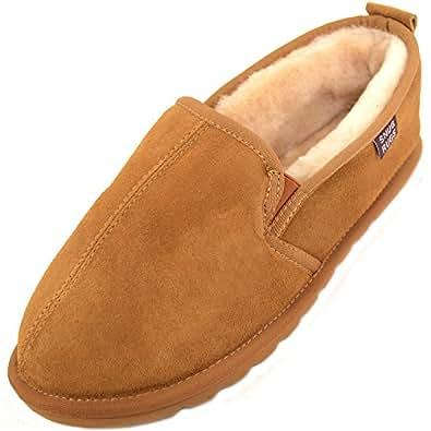 SNUGRUGS Sheepskin Hard Sole - Pantofole uomo, colore Marrone (Chestnut), taglia 39/40 EU (UK 6)