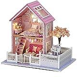 DIY de madera casa de muñecas hecha a mano miniatura Kit LED rosa Villa modelo & muebles/caja de música