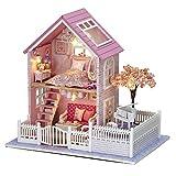 Fai da te casa delle bambole in legno fatto a mano in miniatura kit- LED rosa Villa Model & Furniture/Music Box - Cuteroom - amazon.it