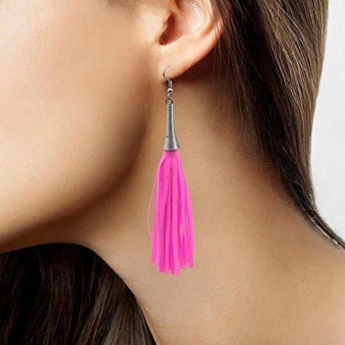 (Folat Jazzy Fransen Ohrringe Neonpink Neon pink Schlagermove 80er Jahre JGA)