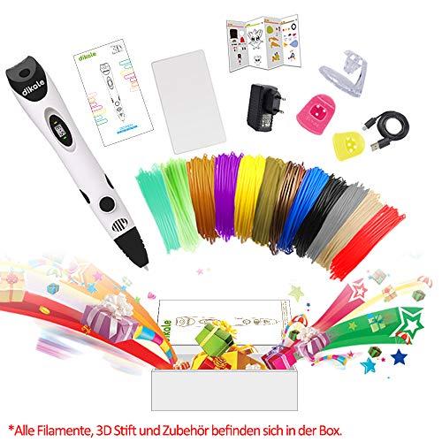 3D Stift Set für Kinder mit PLA Filament 12 Farben -【Neueste Version 2018】3D Stifte mit PLA Farben 120 Fuß und 250 Schablonen eBook, Dikale 07A 3D Pen als kreatives Geschenk für Erwachsene, Bastler zu kritzeleien, basteln, malen und 3D drücken - 9