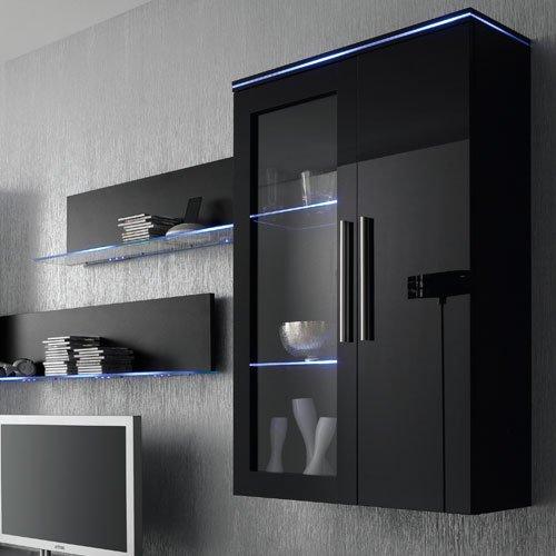 Anbauwand 6-tlg. Hochglanz schwarz, 2 x TV-Element, 2 x Hängevitrine, 2 x Glasbodenpaneel, Mindestbreite: ca. 300 cm, Tiefe: ca. 40 cm - 2