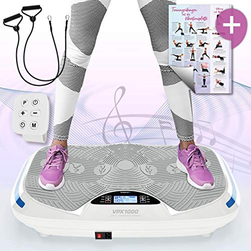 Kinetic Sports 3D Vibrationsplatte VPX1000 VITAL Trainer Ergo +2 leistungsstarke Motoren +Intuitiv +Curved Design +gelenkschonend +Bluetooth 4.0 Lautsprecher +Fernbedienung +Vibration Oszillation
