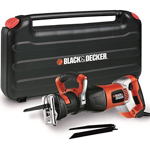 BLACK+DECKER RS1050EK-QS Scie sabre filaire, Vitesse variable 6 positions de 800 à 2400 crs/min - 3 lames - Livrée en coffret 1050W, Noir, Orange, 28 mm