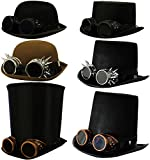 STEAMPUNK VICTORIAN FELT TOP HAT WITH SPIKED SILVER GOGGLES