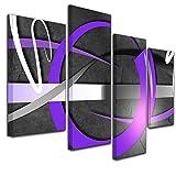 Kunstdruck - Abstrakte Kunst 02 - violett - Bild auf Leinwand - 120x80cm - 4teilig - Leinwandbilder - Urban & Graphic - Kreisring - Formen und Kreise - Glanz - glänzend