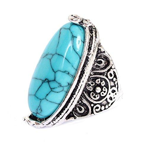 Große Modeschmuck Ringe (JUSTFOX - Edelstahl Ring großer ovaler Stein Luxus Marmor-Optik 64 = 20,3 mm)