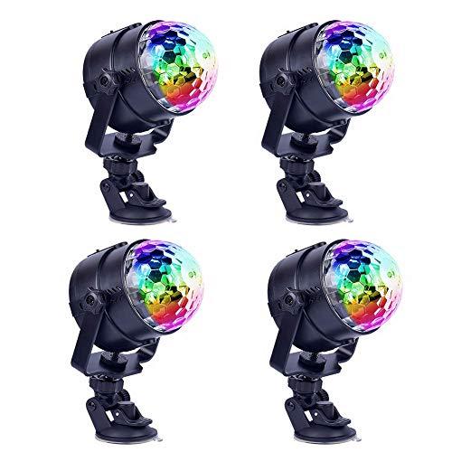 Vinmin Disco-Ball-Party-Lights, Sound-aktivierte Party-Lights, LED-Bühnenlichter 7 Farben rotiert selbstfahrender Modus Stroboskopisch schwarz (An Der Ball Montiert Decke Disco)