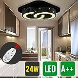 HG® 24W LED Deckenleuchte Dimmbar Fernbedienung Esszimmer eckig Lampe Garderobe Energiespar Schlafzimmerleuchte Schwarz