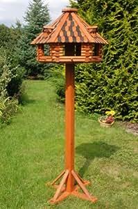 deko shop hannusch nichoir oiseaux de luxe sur pieds en bois massif enduit taille xxl amazon. Black Bedroom Furniture Sets. Home Design Ideas