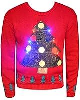 New Unisex Light Up Christmas Jumper Mens Womens Xmas Tree LED Novelty Sweater Knitwear Festive Top Size S/M - XXL