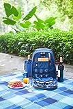 Woodluv - Mochila para picnic con cubertería, sacacorchos, salero y pimentero, platos, vasos, manta (resistente al agua), bolsa térmica para vino y nevera