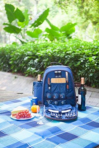 Woodluv Luxus Picknick-Rucksack für 4 Personen, mit Picknick-Korb mit Besteck, 1 Korkenzieher, 1 Salz- und Pfefferstreuer &, Teller, Gläser, Picknickdecke (wasserdicht), Weinkühler, Kühlfach