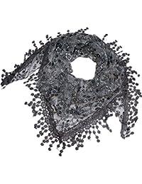 Schal Tuch flauschig Dreieckstuch Halstuch Spitze mit Blumenmotiv