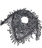 Caripe Damen Dreieckstuch Halstuch Spitze Schal Blumen Glitzer Glitzerschal - glittra (schwarz-weiß)