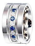 Adisaer Edelstahlring Ring Damen Retro Poliert Blau Weiß Zirkonia Ringe Silber Blau Größe 54 (17.2)