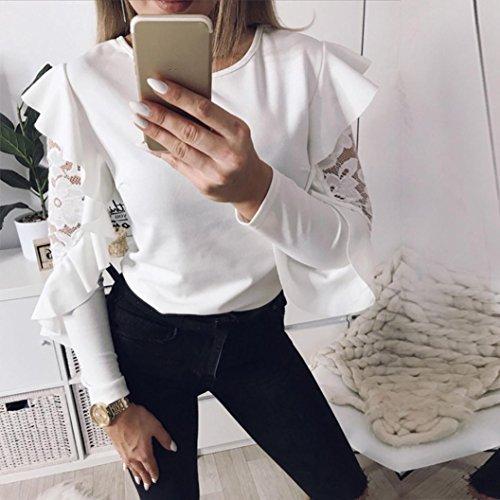 Rawdah Shirt Slim à Manches Longues à Col Rond en Dentelle de Lotus Mode T-Shirts à Manche Longue en Dentelle Dessus Décontractés Pour Femmes Blanc