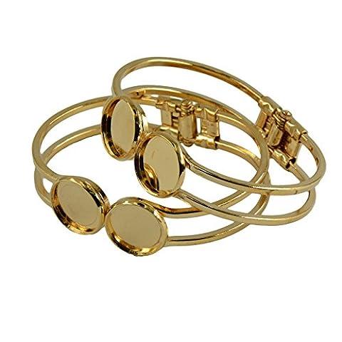 Sharplace Lot de 2pcs Bracelets à 2 Cabochons Dome Rond Bricolage DIY - or
