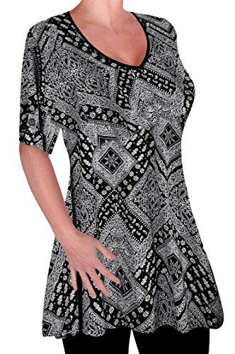 Eye Catch Damen Drucken V-Ausschnitt Bluse Tunika Frauen Übergröße Frauen Ausgestelltes Langes Top - Catch V-neck T-shirt