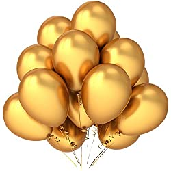 BALLOON JUNCTION Themez only GOLDEN Metallic Birthday Party Balloons - Pack of 50