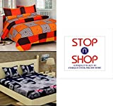 #4: Stop N Shopp Grace Cotton Combo Set Of 2 King Size Double Bedsheet With 4 Pillow Covers