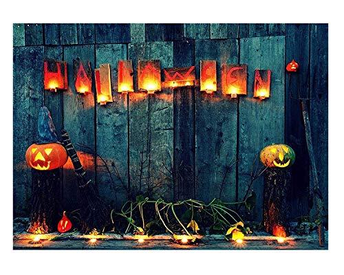 Kate 10x6.5ft Glückliches Halloween-Foto-Hintergrund-Nachtblau-Holz-Wand-Hintergrund-Kürbis-Hintergrund-Trieb (Prinzessin Kate Halloween)