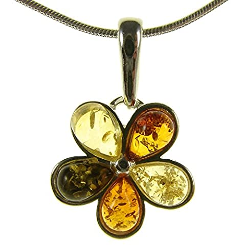 Baltic amber and sterling silver 925 pendant necklace jewellery with