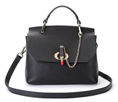 Xinmaoyuan Borse donna Borse in pelle di moda spalla platino borsa messenger in pelle morbida borsa Nero