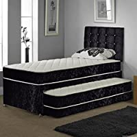 SINGLE TRUNDLE GUEST BED 3 IN 1 WITH UNDER BED PULL OUT BED WITH 2 MATTRESSES AND HEADBOARD (Champagne)