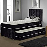 Sleep Factory Ltd SINGLE TRUNDLE GUEST BED 3 IN 1 WITH UNDER BED PULL OUT BED WITH 2 MATTRESSES AND HEADBOARD (Silver)