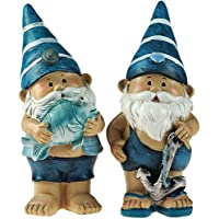 Set de 2azul 21cm–Figuras de gnomos de jardín diseño de peces/Anchor