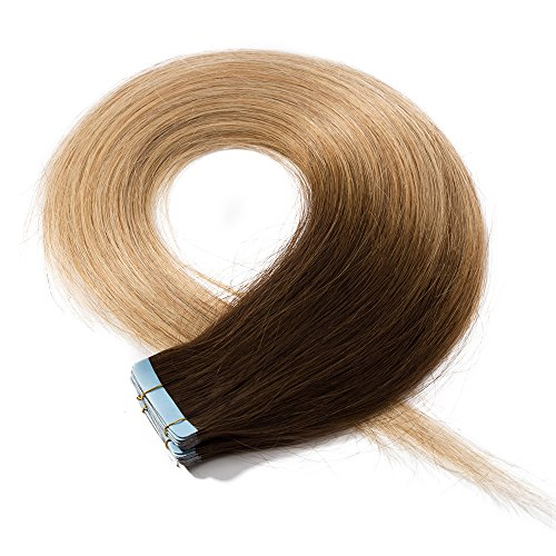 Extension capelli veri adesive 20 fasce 50g/set 100% remy human hair lisci umani - tape in hair extension allungamento con biadesivo (45cm #4t27 cioccolato ombre biondo scuro)