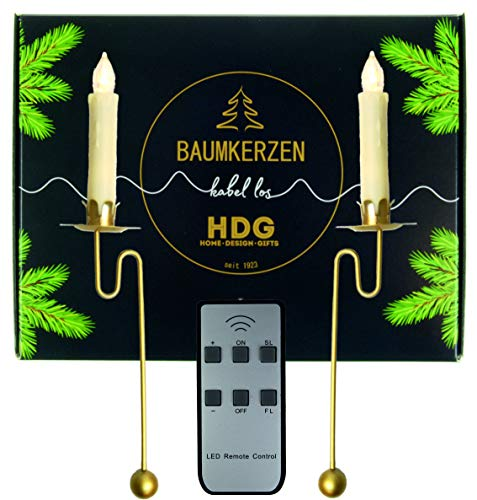Baumkerzen kabellos - 6er Set LED Kerzen mit Fernbedienung und Metall Pendelhalter | Balancehalter Gold im Set mit Baumkerzen in weiß