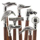 Bastone da passeggio VINTAGE (1 unità), legno, manico con teste di animali