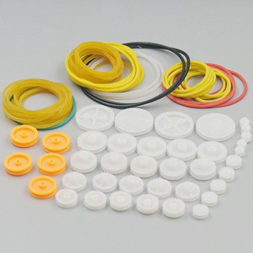 fujiyuan 1Paket 84Arten Hand DIY Spielzeug Kunststoff Gear Kit Riemenscheibe Gürtel Schaft Robot Motor Wate Set Wurm Krone Hobby Slot KFZ-Teile Zubehör