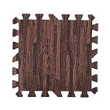 9 piezas de 30X30cm de madera impresa de grano de bloqueo de espuma de tres colores de espuma de EVA piso Puzzle Mats ( Color : Brown Random )