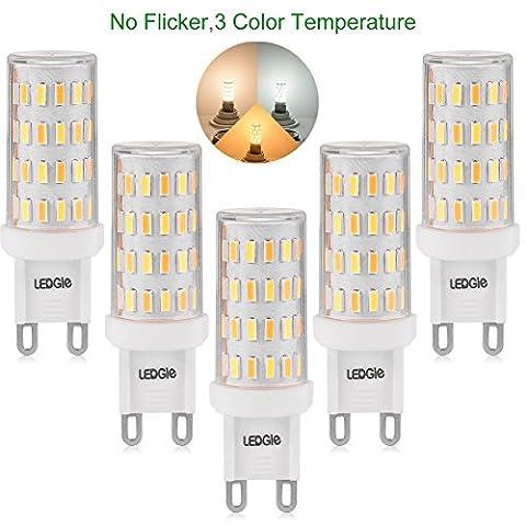 LEDGLE [Nouvelle Version ] Lot de 5 Ampoules LED G9 6W Sans Scintillement 60-LED SMD4014 390-420lm Equivalent à Ampoule Halogène de 60W avec 3 Modes de Température de Couleur -Blanc Chaud /Blanc Naturel/ Lumière Naturelle