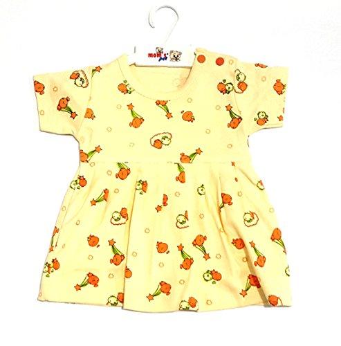 momspet baby cartoon printed frock - Yellow