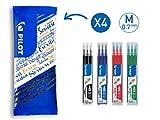 PILOT FriXion Tintenrollermine 0.7, Ersatzminen, 12er Set (Blau, Schwarz, Rot, Grün)