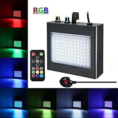 SOLMORE 108 RGB LED Strobe Lights Disco Lights Auto Sound Activated DJ Party Lights Adjustable Flash Speed Control for Stage Lighting Wedding Show Club Pub Parties by SOLMORE