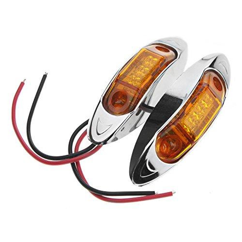 D2D 3 LED bernsteinfarbene Vorderseitenmarkierungsleuchte für LKW, Anhänger, Orange, 2 Stück