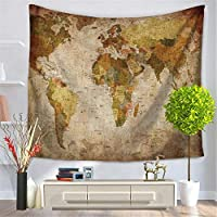 Freeas Vintage World Map Tapestry Wall Hanging Mandala Indian Tapestries Hippie Print Tapestry Picnic Beach Sheet Table Cloth,150 x 130cm (3#)