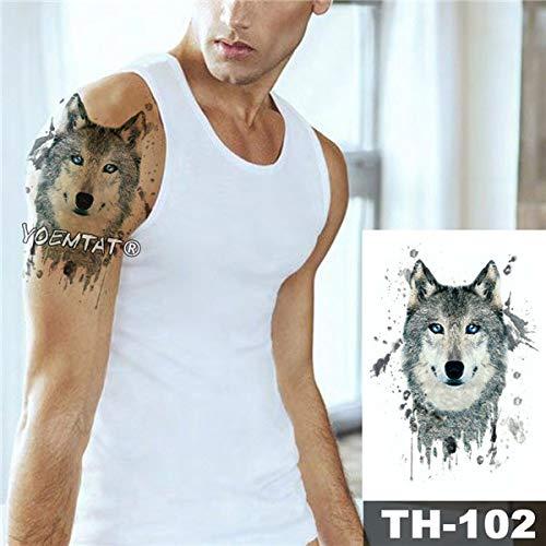 adgkitb 3pcs wasserdicht temporäre Tätowierung Aufkleber Wald Wolf Muster Wild Man Art Fake Tatoo 11 20x14.8 cm