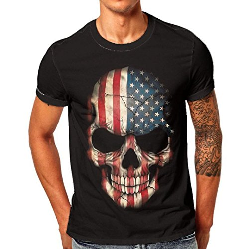 ASHOP Herren Casual Skull 3D Printing Logo Tee Fitness Crew Neck Kurzarm T-Shirt Schwarz (XL, Schwarz)