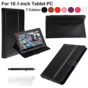 Foxnovo® 3-in-1 Universal Folding PU Case Cover Stand Stylus Pen Cloth Set for 10.1-inch Tablet PC (Black)
