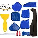 Minleer Lot de 12 outils de calfeutrage, outil de finition pour joints et grattoir pour calfeutrage et embout pour calfeutrage Bleu